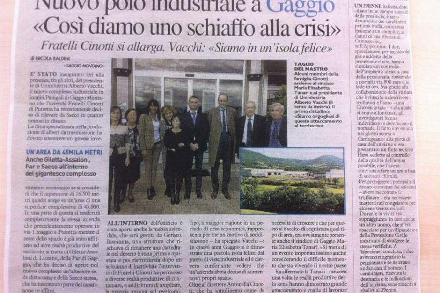 Nuovo polo industriale a Gaggio «Così diamo uno schiaffo alla crisi»